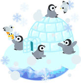 Baby penguins are living in the igloo