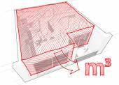 Byt diagram s ručně tažené kubických metrů diagram a místnost