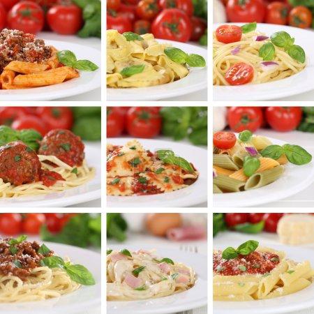 Постер, плакат: Italian cuisine collection of spaghetti pasta noodles food meals, холст на подрамнике