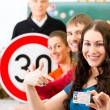 Постер, плакат: Driving instructor with his class