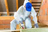 Arbeitnehmer schneiden Dämmstoff