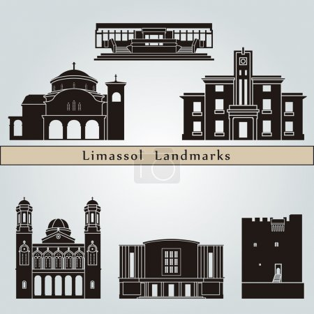 Постер, плакат: Limassol landmarks and monuments, холст на подрамнике