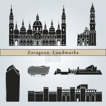 Постер, плакат: Zaragoza landmarks and monuments, холст на подрамнике