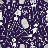 Halloween skeletons pattern 02 in editable vector file