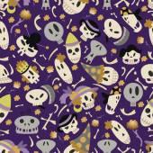 Halloween skulls pattern 01 in editable vector file