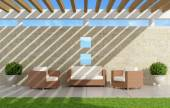 Garden with  sofas and armchairs under a pergola  - 3D Rendering