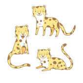 Cute cartoon leopards set Three little wild kitten Funny african animals Children's illustration Collection for kids Vector image