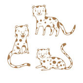Cute cartoon leopards set Three little wild kitten Funny african animals Children's illustration Collection for kids Vector contour image no fill