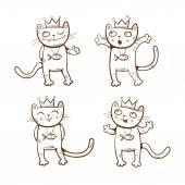 Cartoon kings cats set Vector image