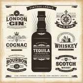 A set of fully editable vintage alcohol labels in woodcut style EPS10 vector illustration