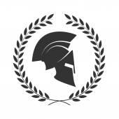 Ikona Spartan helmu v vavřínový věnec