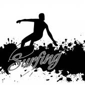 Silhouette of a surfer in grunge style