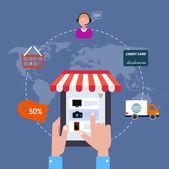Ikon online boltjában. értékesítés, Internet. lapos stílusú