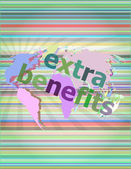 Extra benefits slogan poster concept. Financial support message design vector illustration