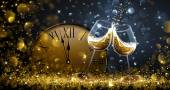 Twelve oClock on New Years Eve with champagne and bokeh effects Vector illustration