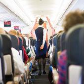 Innenraum des Flugzeuges mit Passagieren auf sitzen
