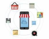 Smartphone as online store - Mobile shopping concept vector with flat icon set
