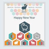 Ovce na pozadí šestiúhelníky infografiky kalendáře