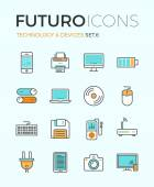 Line icons with flat design elements of personal electronics and multimedia devices consumer technology object home and office appliances Modern infographic vector logo pictogram collection concept