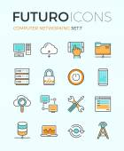 Line icons with flat design elements of computer network technology cloud computing networking server database technical instruments Modern infographic vector logo pictogram collection concept