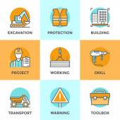 Line icons set with flat design elements of construction site crane working building home architecture worker toolbox builder with production plan Modern vector pictogram collection concept
