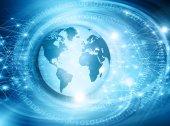 Nejlepší internetové koncepce globální podnikání. Glóbus, zářící linky na technologické zázemí. Elektronika, Wi-Fi, paprsky, symboly Internet, televize, mobilní a satelitní komunikace