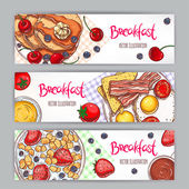 Set with three banners of different types of breakfast hand-drawn illustration