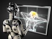Robota žena s hologramem displey