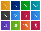 Hand tools icons set in Metro style