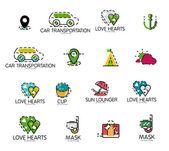 Soubor ikony logo abstraktní cestování. Podnikání, app nebo internetové webové symboly