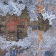 Постер, плакат: Facade of an old house with layers of old paint