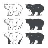 Set of Six Bear Silhouette Vector illustration