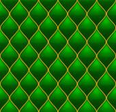 Green with Gold Quilted Leather Seamless Background Vector illustration