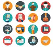 Flat modern human resources office and management icons set