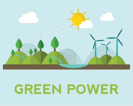 Постер, плакат: Wind power generation facilities, холст на подрамнике