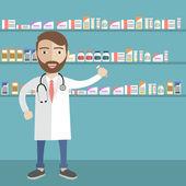 A férfi gyógyszerész illusztrációja