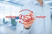 Arbeitnehmer und Arbeitgeber ausgewogene Zusammenarbeit-Konzept