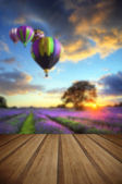 Hot air balloons flying over lavender landscape sunset with wood