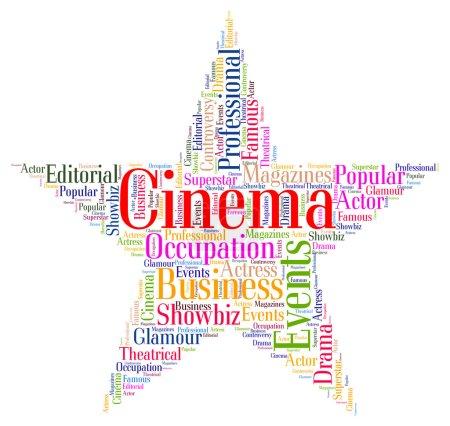 Постер, плакат: Cinema Star Indicates Hollywood Movies And Cinemas, холст на подрамнике