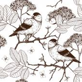 Seamless vector pattern with ink hand drawn birds on blooming tree twigs Vintage sketch background isolated on white