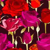 Black background with decorative red and pink roses