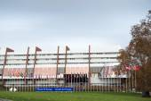 All European Union Flag flies at half-mast in front of the Counc