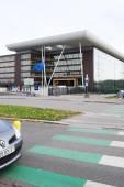 European Union Flag flies at half-mas Agora building