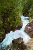 Green forest waterfall stream water Tatra mountains Carpathians Poland