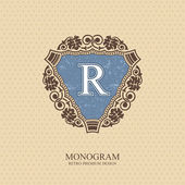 Monogram logo template with flourishes calligraphic elegant ornament elements Letter emblem R Elegant line art logo Business sign for Royalty Boutique Cafe Hotel Heraldic Jewelry Wine Vector