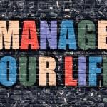 Постер, плакат: Manage Your Life in Multicolor Doodle Design
