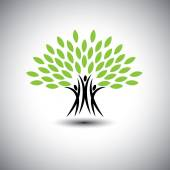 Happy, joyous people as trees of life - eco concept vector icon