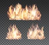 Sada realistický oheň plamenů na průhledné pozadí