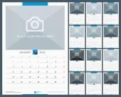 Nástěnný měsíční kalendář pro rok 2016. Vektorový Design tiskové šablony s místem pro fotografie. Týden začíná pondělí. Orientace na výšku. Sada 12 měsíců