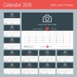 Постер, плакат: Desk Calendar for 2016 Year Vector Design Print Template with Place for Photo Logo and Contact Information Week Starts Monday Set of 12 Months